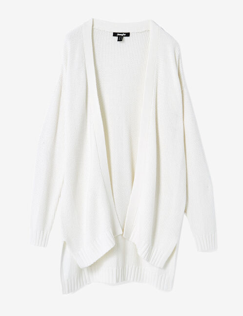 Cream textured knit open-front cardigan