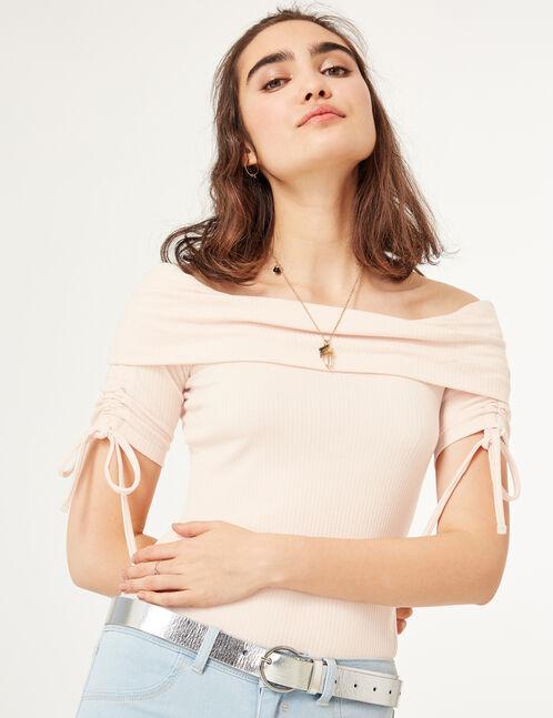 body épaules dénudées rose clair