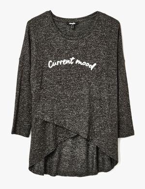 tee shirt effet croisé gris anthracite chiné