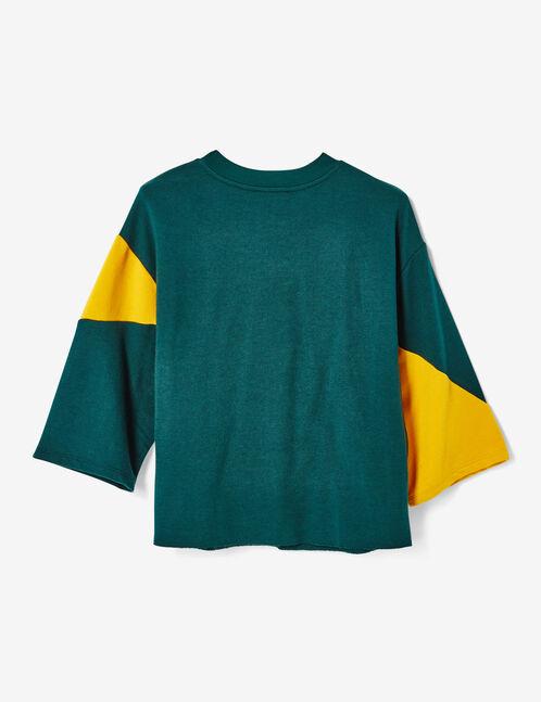 sweat michigan bicolore ocre et vert