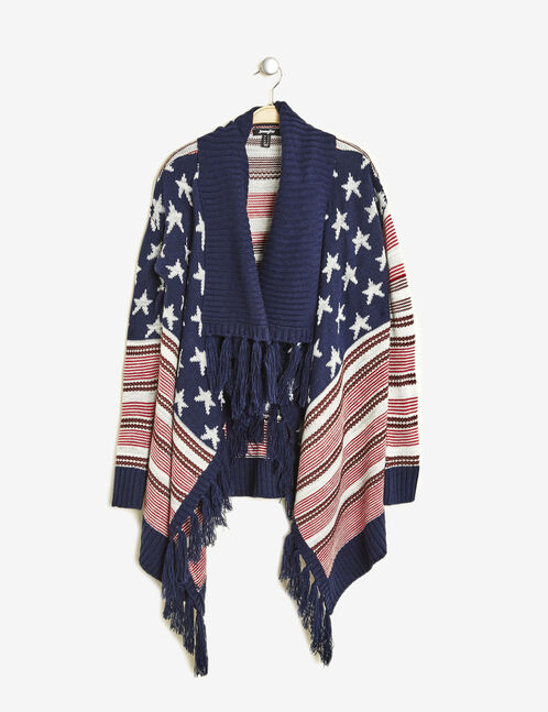gilet jeté motif drapeau usa bleu marine, rouge et écru