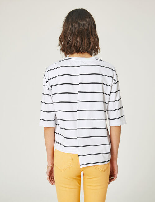 tee-shirt asymétrique rayé blanc et noir