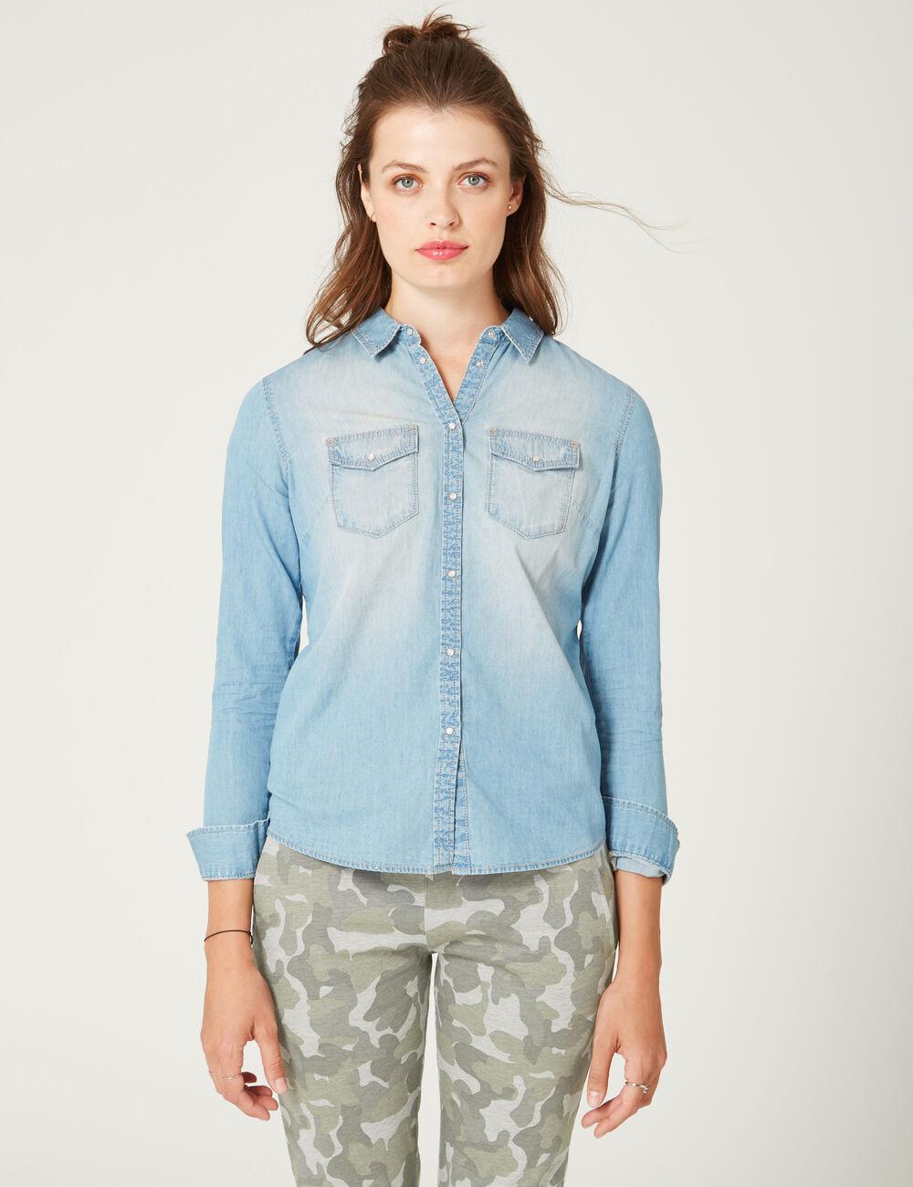 chemise en jean bleu clair femme jennyfer. Black Bedroom Furniture Sets. Home Design Ideas