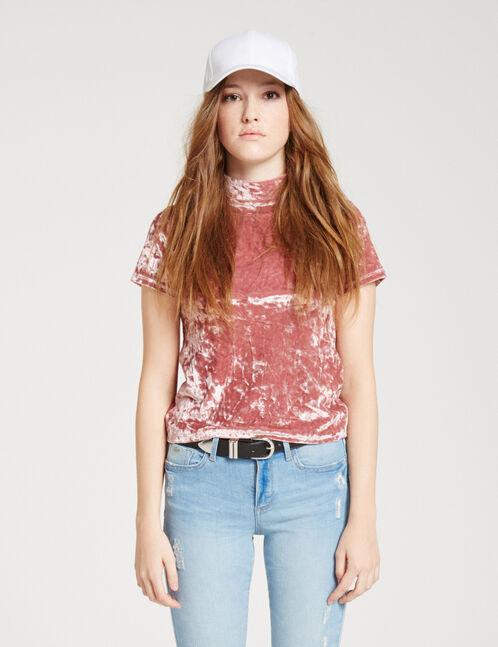 tee-shirt en velours rose clair