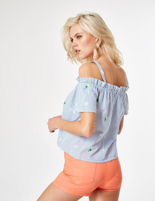 blouse avec broderies citrons bleue et blanche