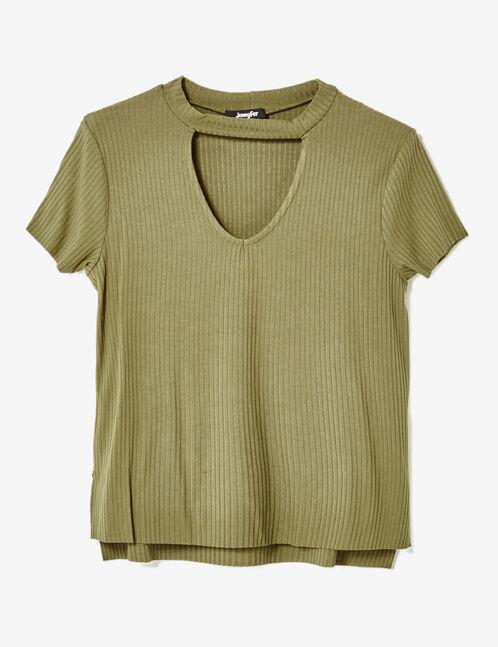 Khaki T-shirt with cut-out detail