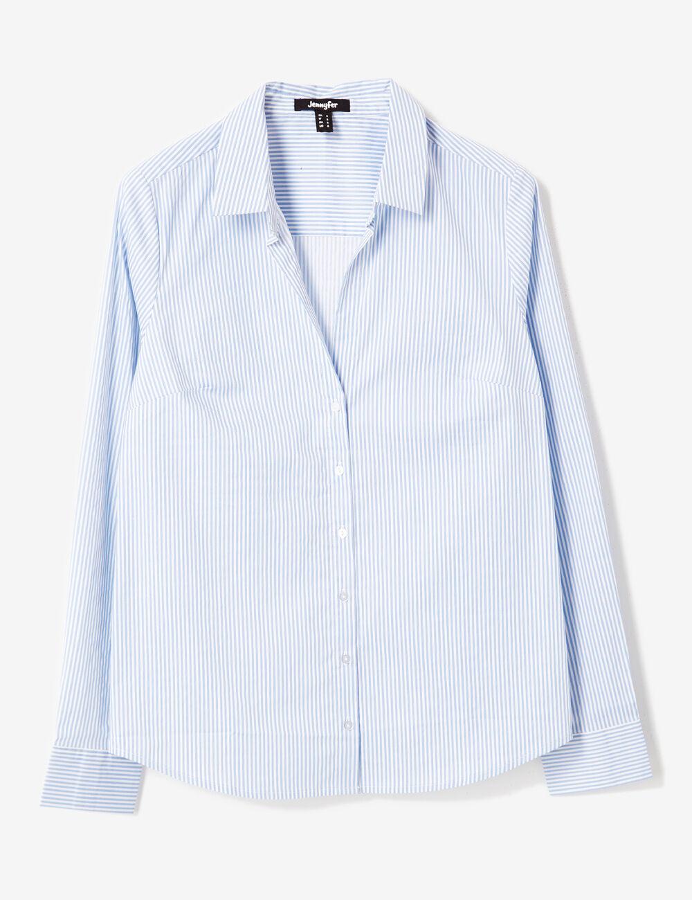 chemise cintr e ray e bleu clair et blanc femme jennyfer. Black Bedroom Furniture Sets. Home Design Ideas