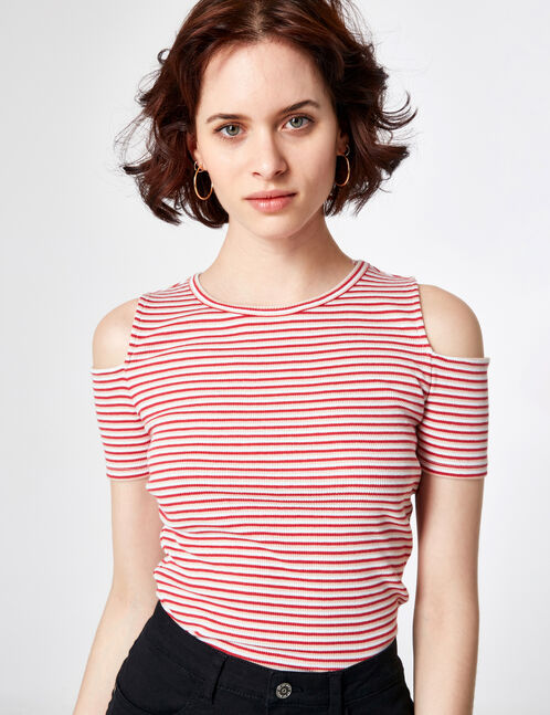 Cream, light coral and raspberry pink striped cold shoulder T-shirt