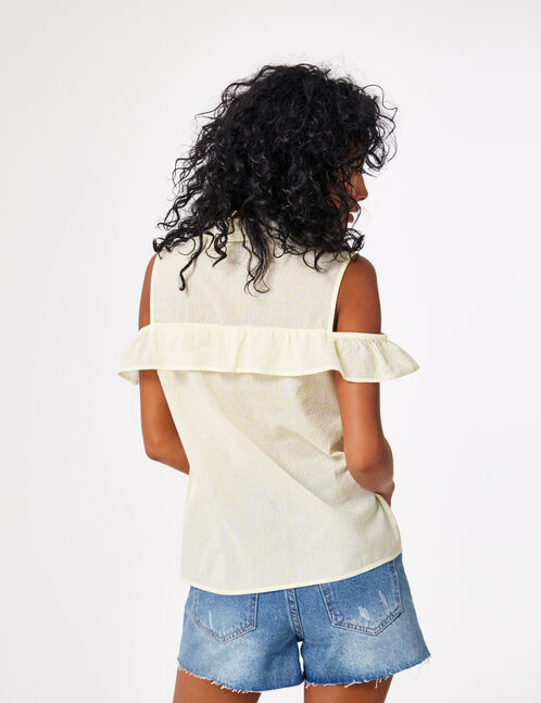 Light yellow cold shoulder blouse