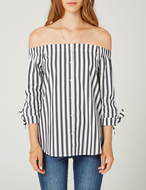 Black and white striped off-the-shoulder blouse
