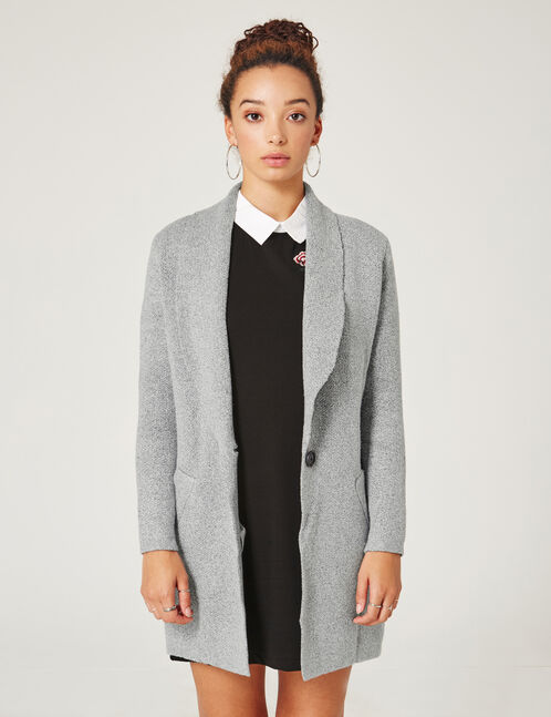 long grey knitted blazer style cardigan woman jennyfer. Black Bedroom Furniture Sets. Home Design Ideas