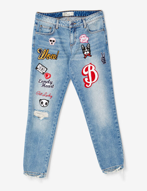 Medium blue straight-leg jeans with patch detail