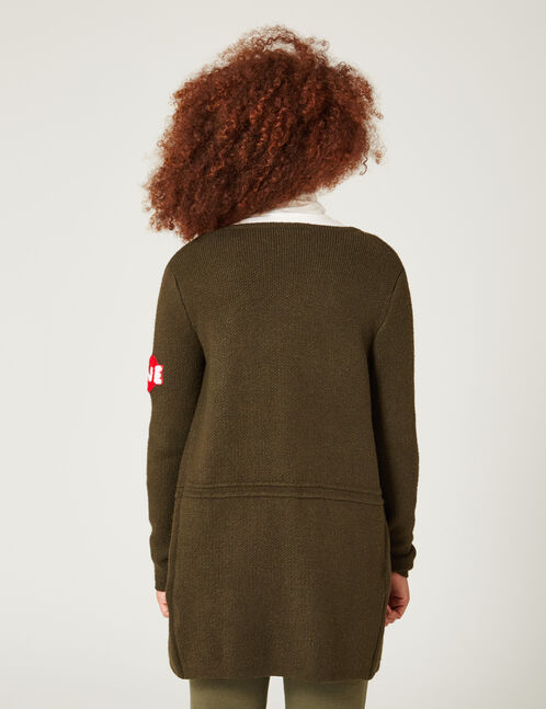 Khaki cardigan with patch detail