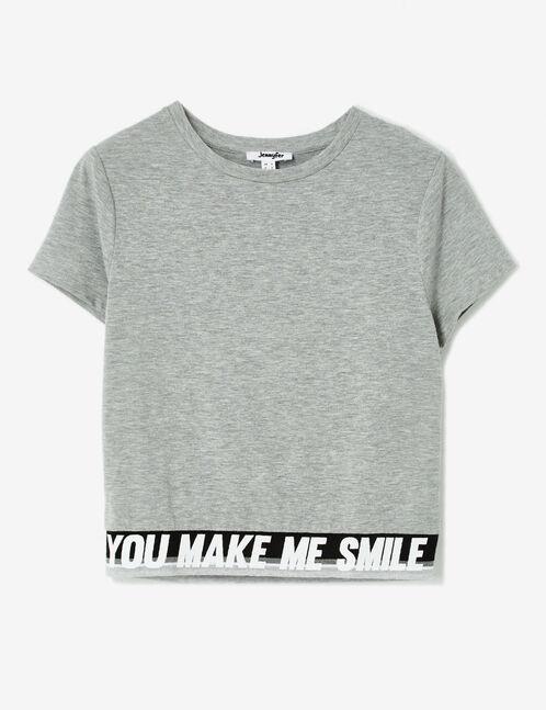 "Grey marl ""make me smile"" T-shirt"