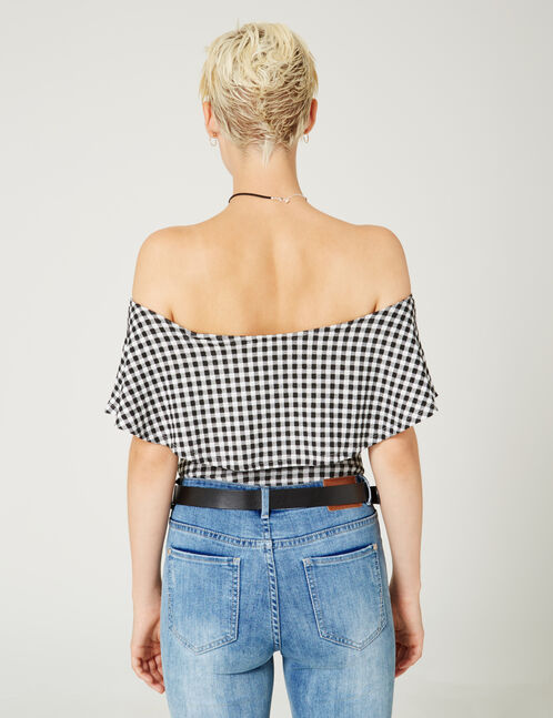 Black and white gingham bodysuit with frill detail