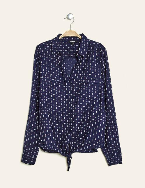 Navy blue tie-fastening cotton shirt