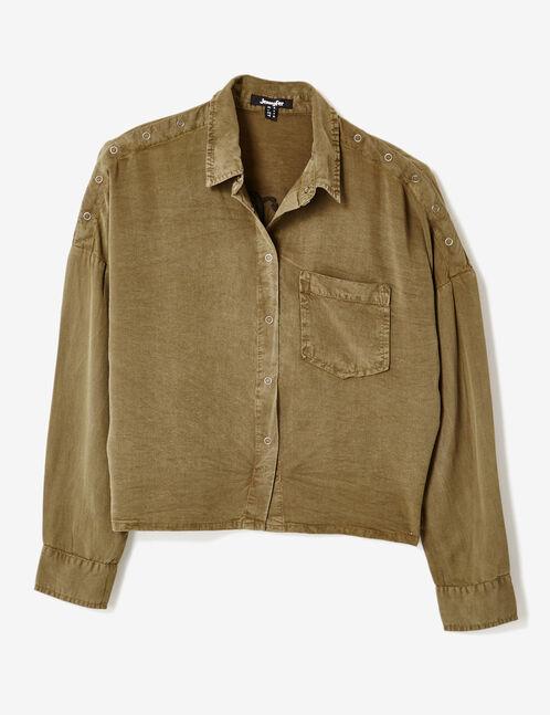 chemise courte à message kaki