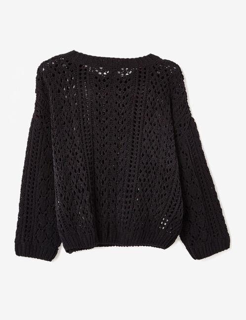 Black openwork chenille jumper