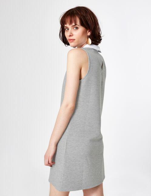 robe avec col blanc gris chiné