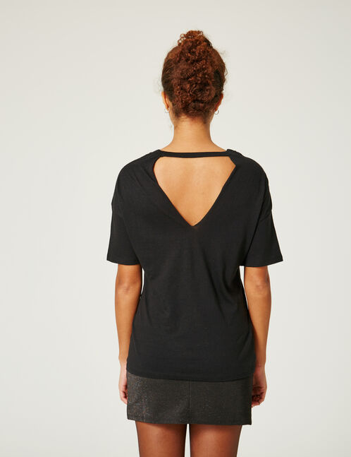 Black open-back T-shirt