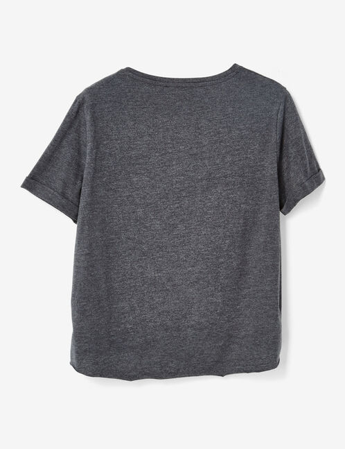 Charcoal grey marl T-shirt with pearl detail