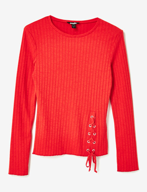 Red ribbed top with lacing detail