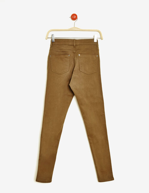 Khaki super skinny trousers with zip detail