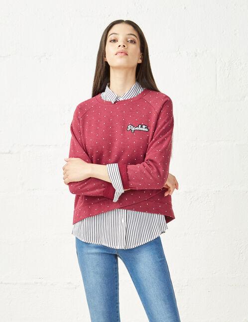 Raspberry crossover effect chatterbox sweatshirt