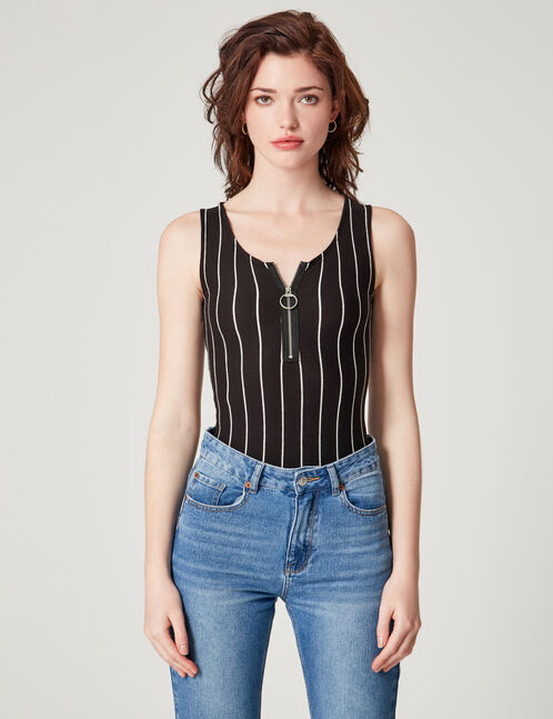 Black and white striped bodysuit with zip detail