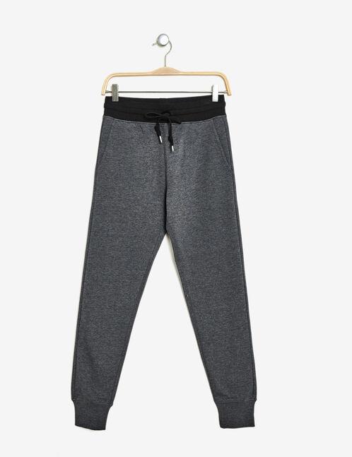 jogging coupe slim gris anthracite chiné et noir