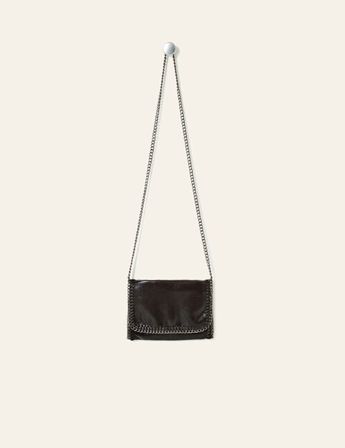 Black clutch bag with chain detail