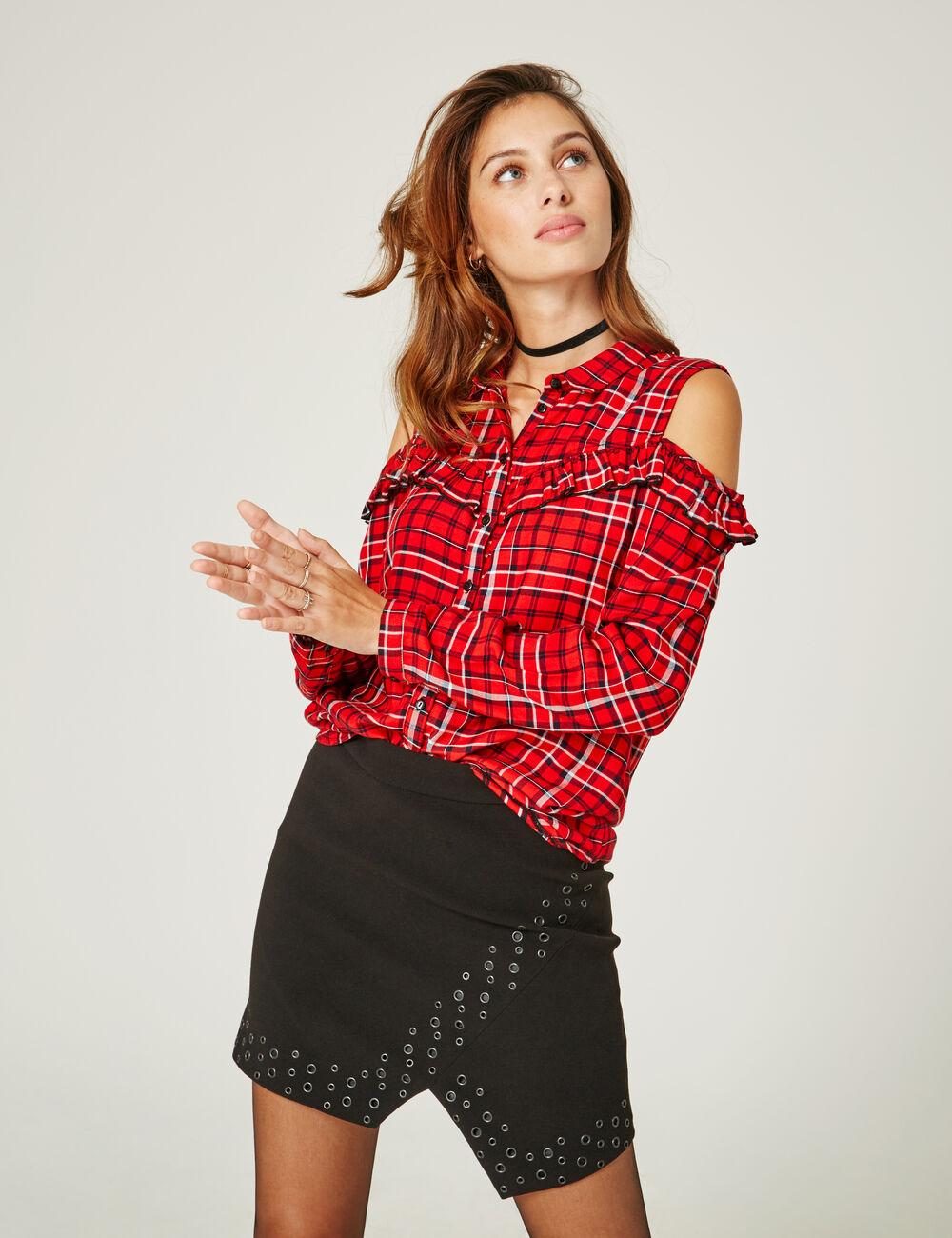 chemise paules ajour es rouge et noire femme jennyfer. Black Bedroom Furniture Sets. Home Design Ideas