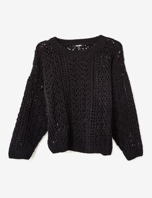 Product Pull chenille femme, noir, maille ajourée, finitions bords côtes col rond, manches longues.Marque Jennyfer Catégorie pulls + gilets