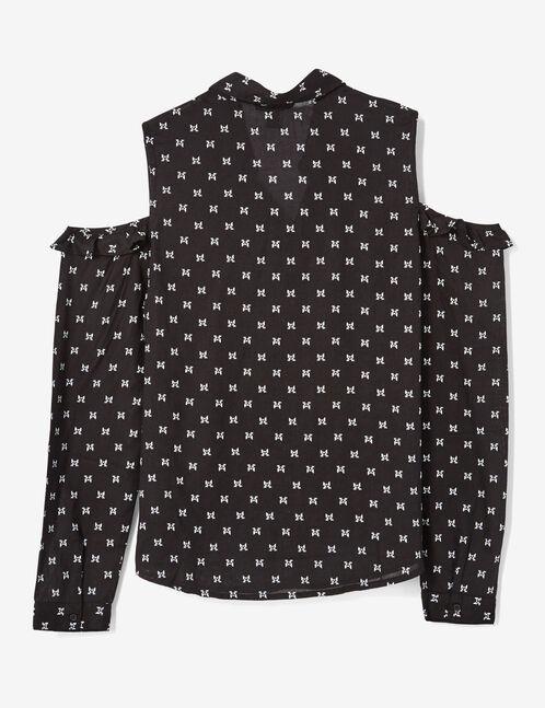 Black cold shoulder shirt