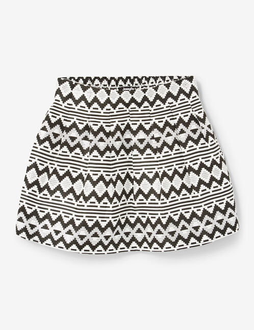 Black and silver Aztec-patterned miniskirt