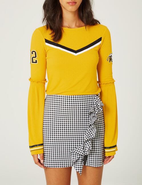 Ochre top with stripe detail