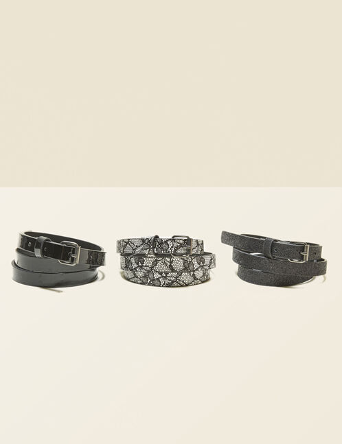 Black and white skinny belts