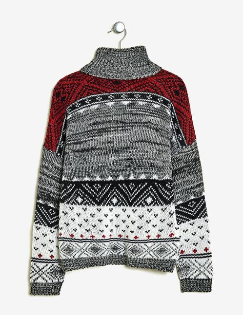 pull motif rennes noir, gris, écru et bordeaux