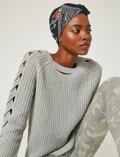 Grey marl jumper with open details