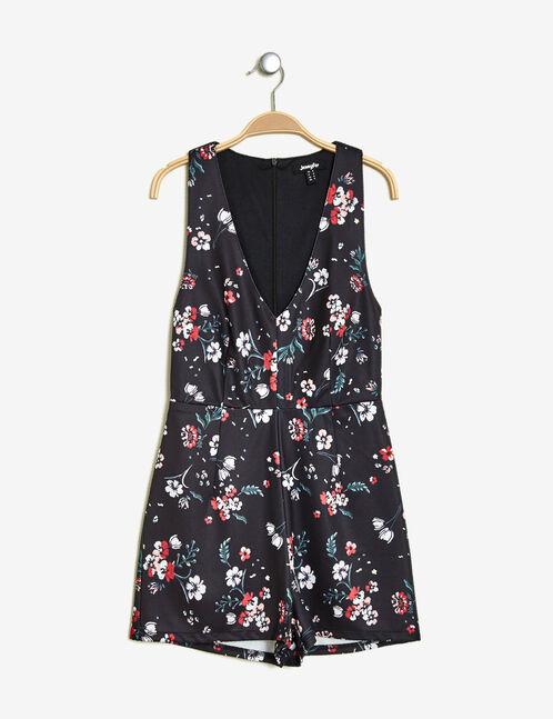 combishort fleurie noire