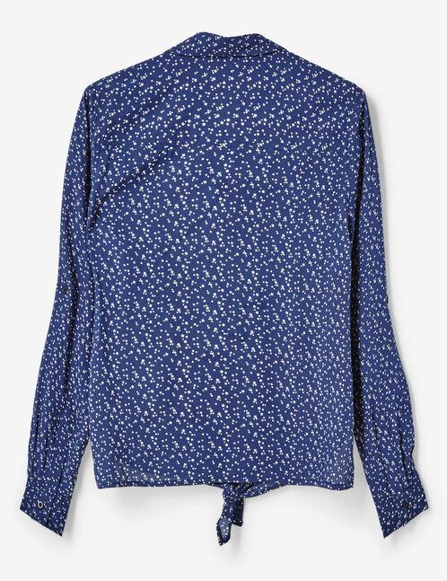 chemise imprimé à nouer bleu marine