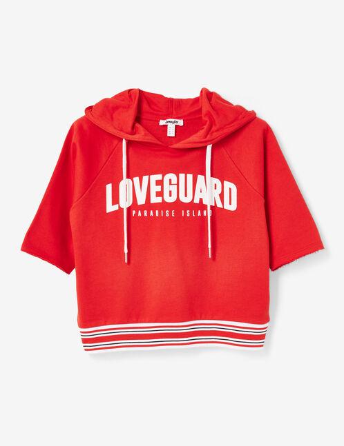 """Red """"loveguard"""" hoodie"""