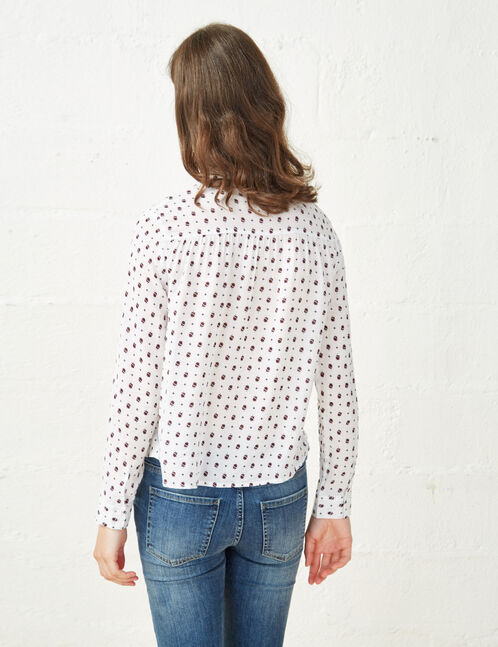 Cream and burgundy floral print blouse