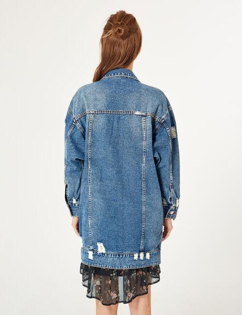 veste longue en jean medium blue