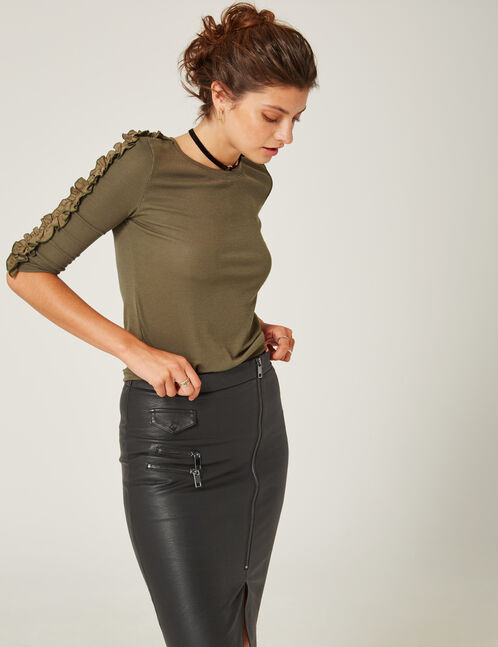 Black top with frill detail