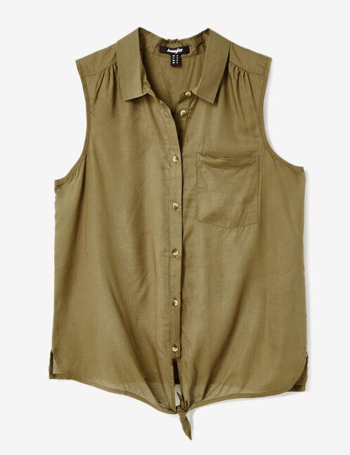 Khaki sleeveless shirt