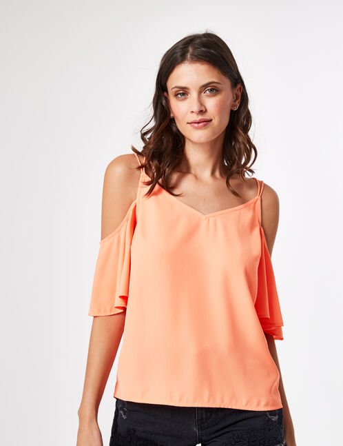 Coral blouse with cut-out shoulders