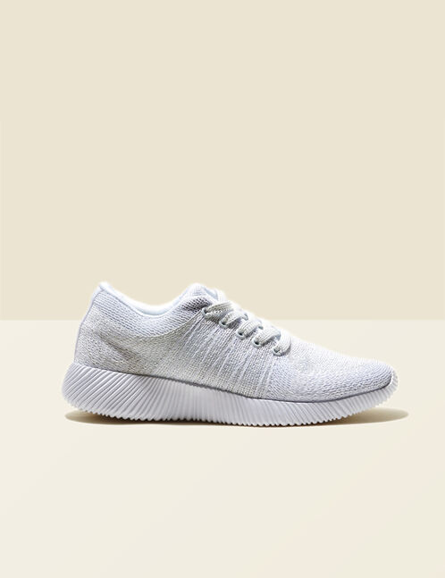 White trainers with lurex detail