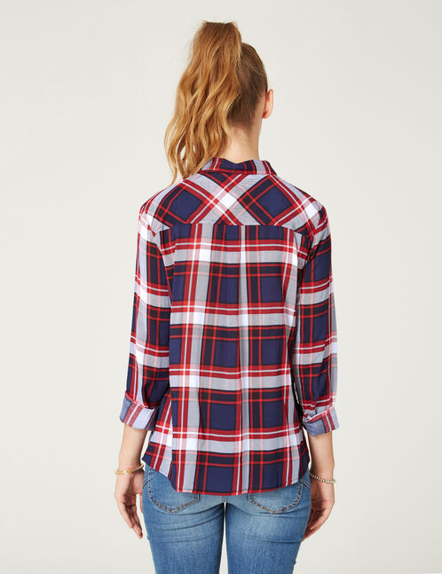 Red, blue and white checked shirt