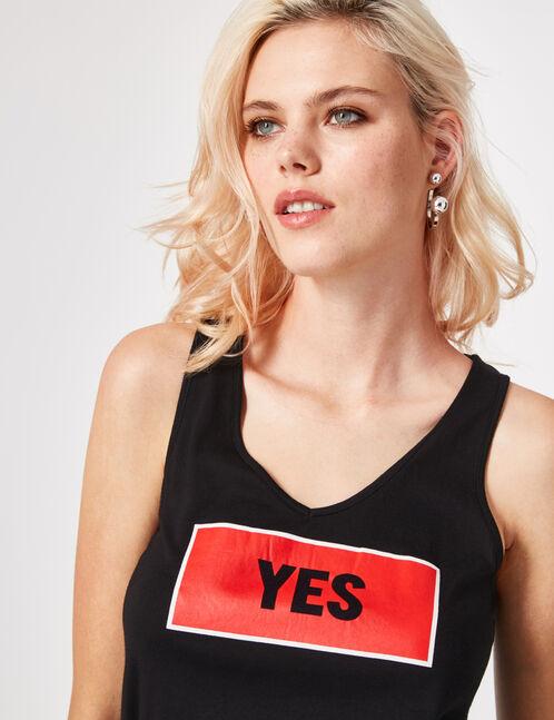 "Black ""yes"" tank top"